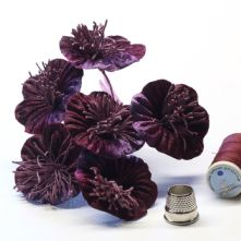 Vintage Plum Velvet Blossoms x6